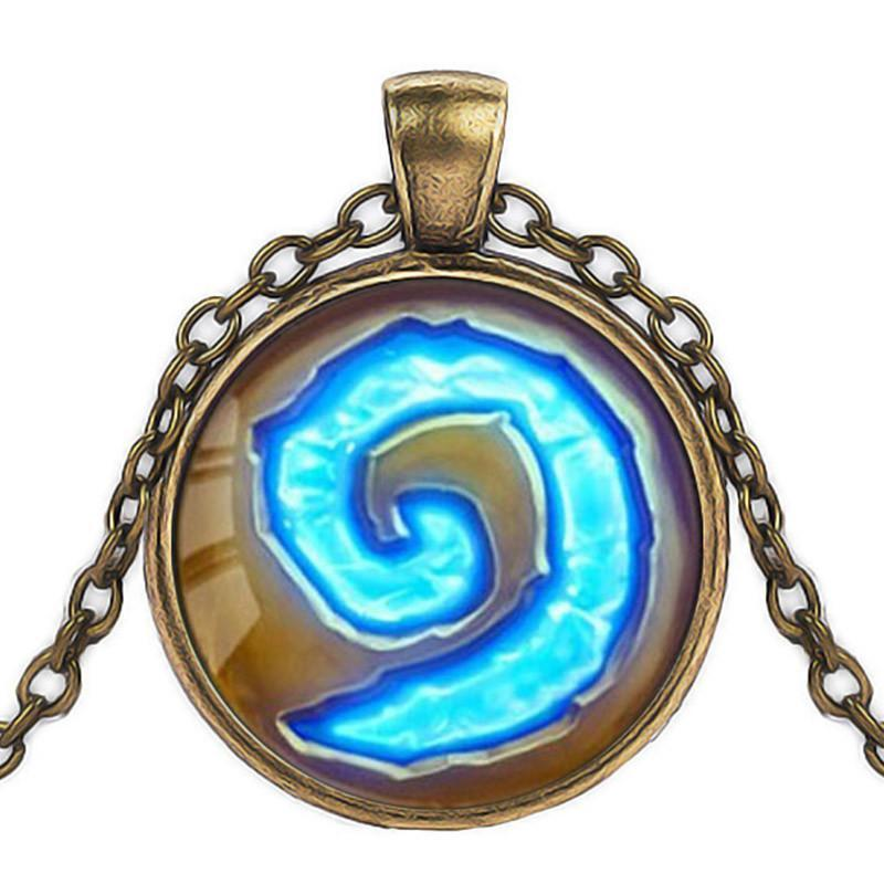 Hearthstone Glass Round Pendant Charm Necklace - AtPerry's Healing Crystals™