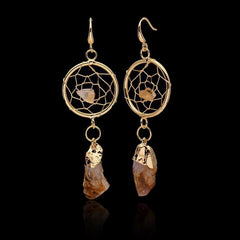 Irregular Citrine Raw Natural Stone Dream Catcher Gold Dangle Earrings