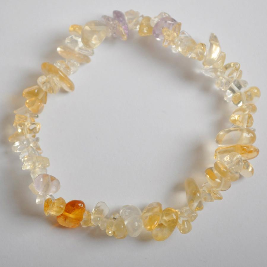 Lucky Chip Beads Citrine Crystal Stretch Bracelet - AtPerry's Healing Crystals™