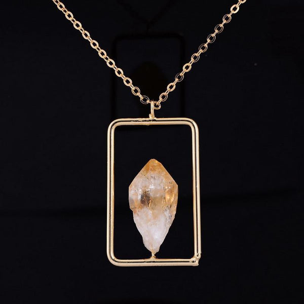 Link Chain Irregular Citrine Crystal  Pendant Necklace