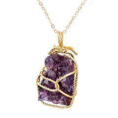 Wrapped Raw Natural Amethyst Stone Necklace