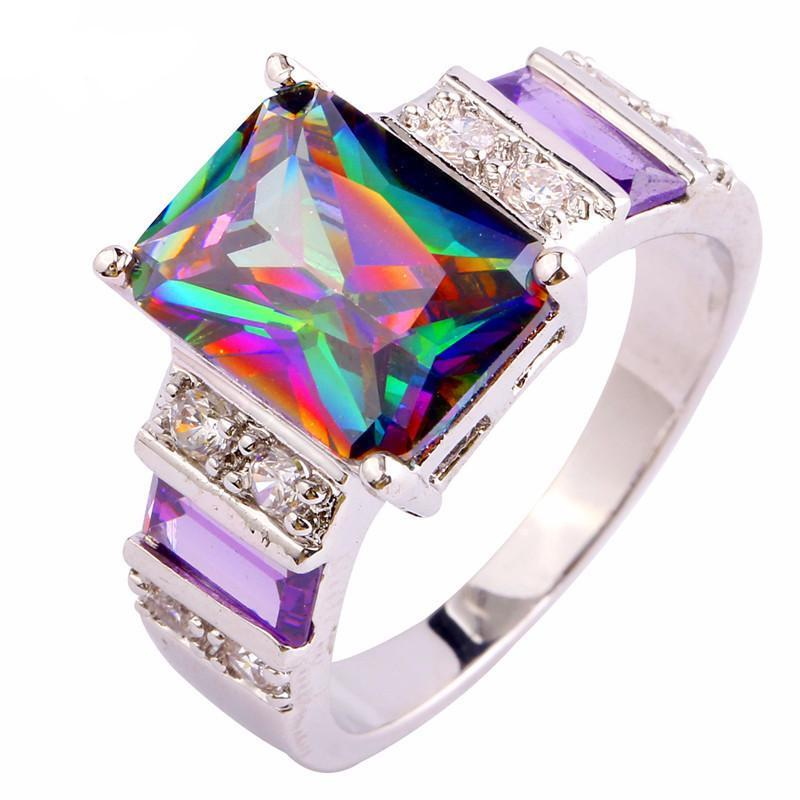 Rainbow Topaz Amethyst Ring - atperry's healing crystals