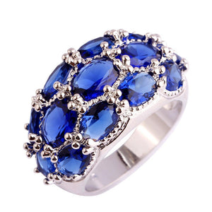 Blue Sapphire Quartz 925 Sterling Silver Ring - atperry's healing crystals
