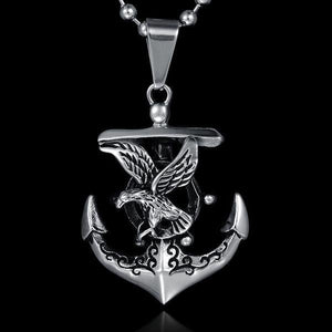 Viking Anchor Stainless Steel Titanium Men NecklaceNecklace