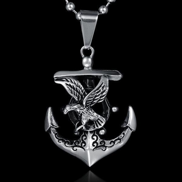Viking Anchor Stainless Steel Titanium Men Necklace - atperry's healing crystals