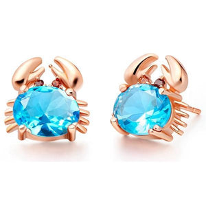 Rose Gold Plated Crab Stud EarringsEarringsRose Gold ColorBlue