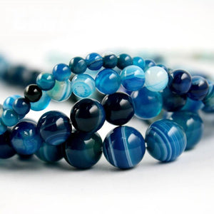 High Quality Blue Stripe Onyx Agate Round Bead Natural Stone Beads 4mm 6mm 8mm 10mm A-string - atperry's healing crystals