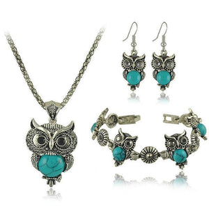 Owl Jewelry Vintage Silver Set - Necklace, Earring & Bracelet Set