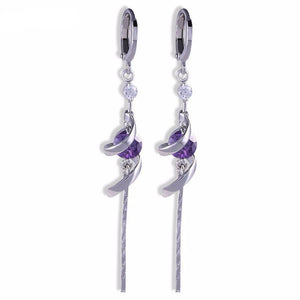 18K White Gold Plated Amethyst Purple crystal Tassel Long Dangle Earrings - atperry's healing crystals