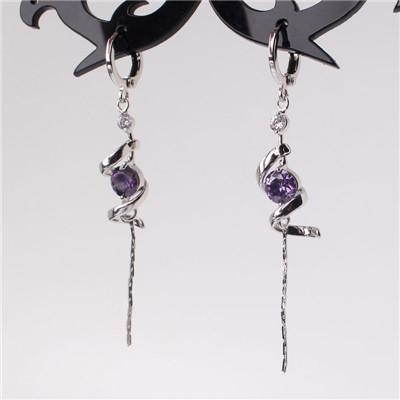18K White Gold Plated Amethyst Purple crystal Tassel Long Dangle Earrings - AtPerry's Healing Crystals™