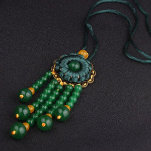 Ethnic Handmade Chrysoprase Long NecklaceNecklace