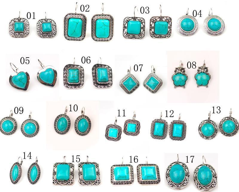 Different Styles of Tibetan Silver Tone Turquoise Drop Earrings