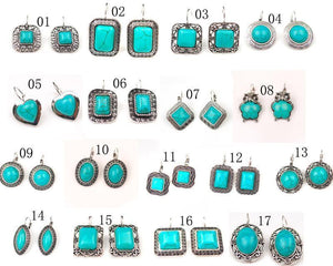 17 Different Styles of Tibetan Silver Tone  Turquoise Drop Earrings - atperry's healing crystals