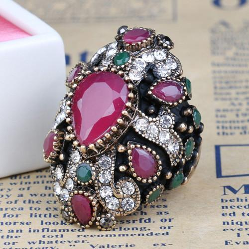 Unique Cross Vintage Ruby/Sapphire Ring - atperry's healing crystals
