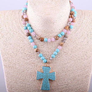 Multi Stone Cross Necklace - AtPerry's Healing Crystals™