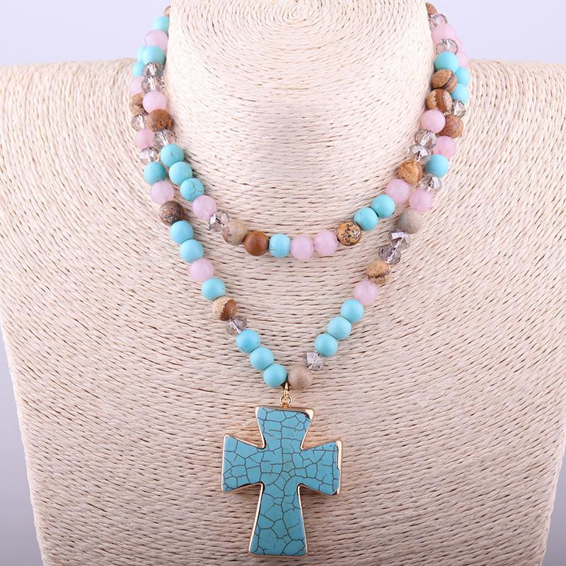 Multi Stone Cross NecklaceNecklace