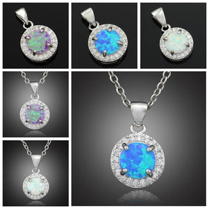 White Blue Pink Fire Opal Pendants - Without the chainNecklace