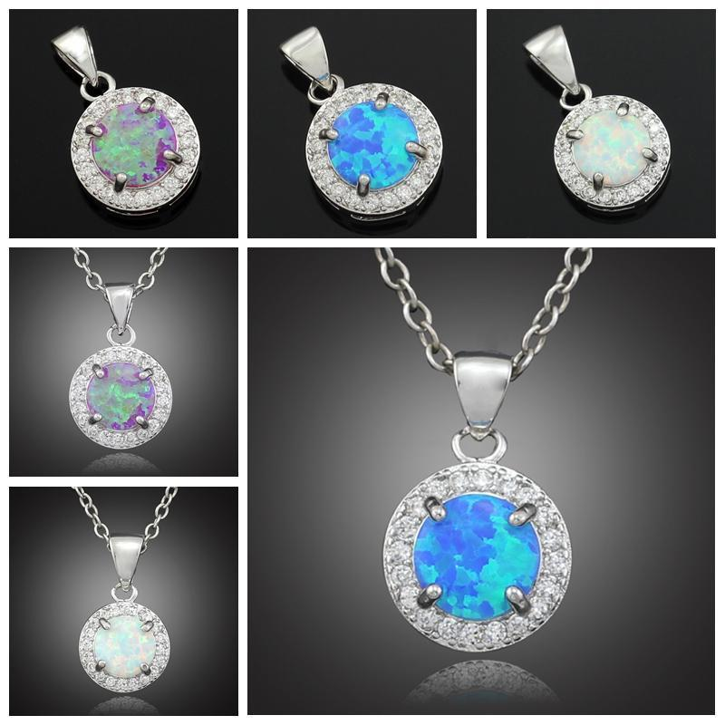 White Blue Pink Fire Opal Pendants - Without the chain - atperry's healing crystals