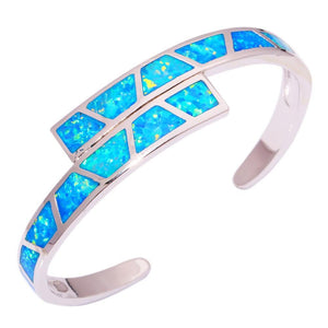 Blue Fire Opal Silver Bracelet - AtPerry's Healing Crystals™