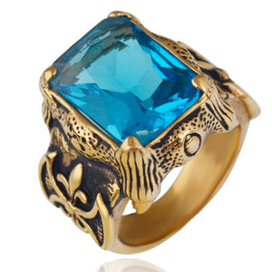 Aquamarine Gold Vintage Men Ring - atperry's healing crystals