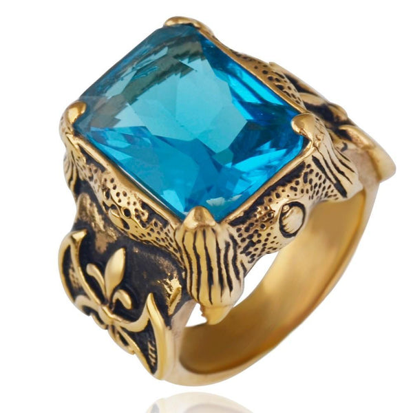 Bague HOMME Vintage Or Aigue-marine