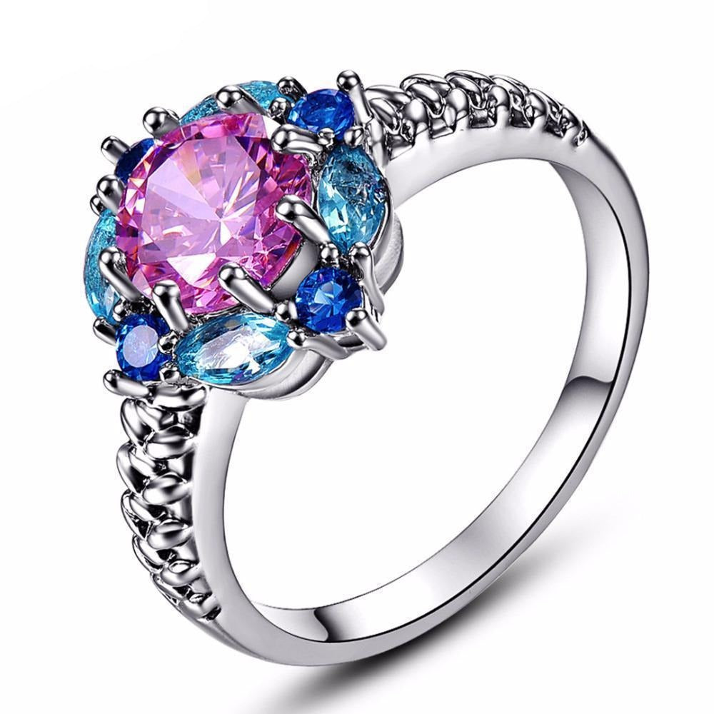 Pink & Blue Topaz White Gold Ring - AtPerry's Healing Crystals™