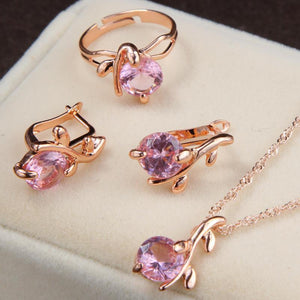 Pink Sapphire Charm Crystal Round Pendant Necklace & Earrings Jewelry SetJewelry Set