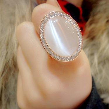 Vintage Bohemian Big Cat's Eye Stone in Rose Gold Color Oval Crystal Ring - AtPerry's Healing Crystals™