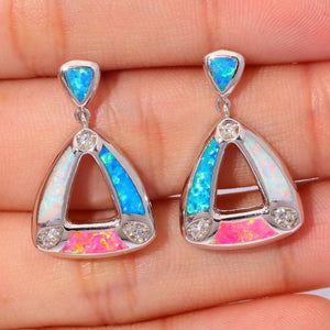 Blue Pink Fire Opal Stud Earrings - AtPerry's Healing Crystals™