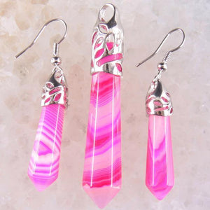 Assorted Healing Crystal Earrings and Pendant Set (PENDANT ONLY NO CHAIN INCLUDED)