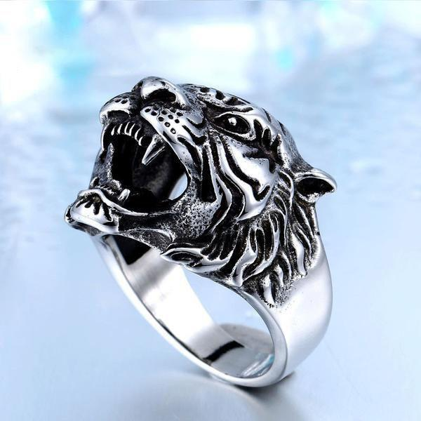 Stainless Steel Titanium Tiger Head Ring - atperry's healing crystals