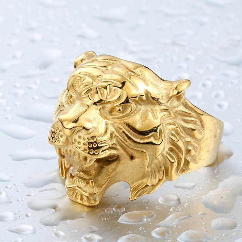 Stainless Steel Titanium Tiger Head Ring