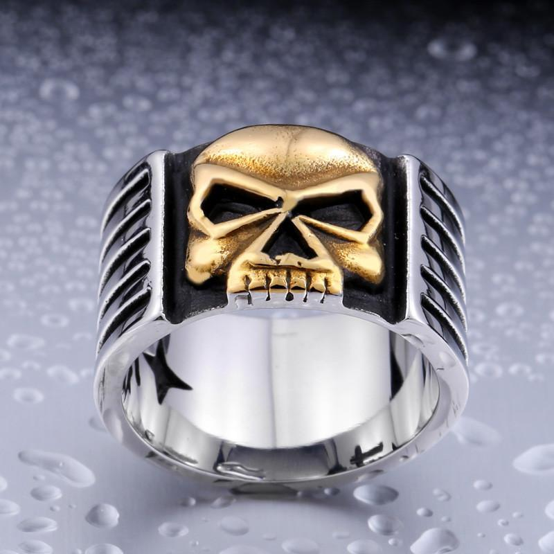 Biker Skull Ring - Stainless Steel - AtPerry's Healing Crystals™