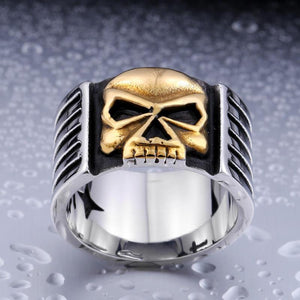 Biker Skull Ring - Stainless Steel - atperry's healing crystals