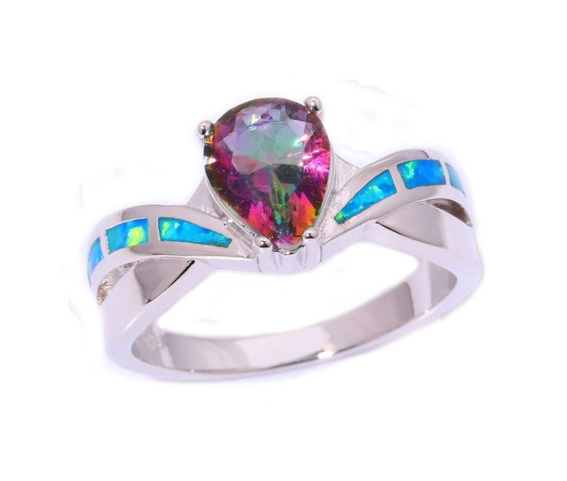 Mystic Topaz & Blue Fire Opal Ring