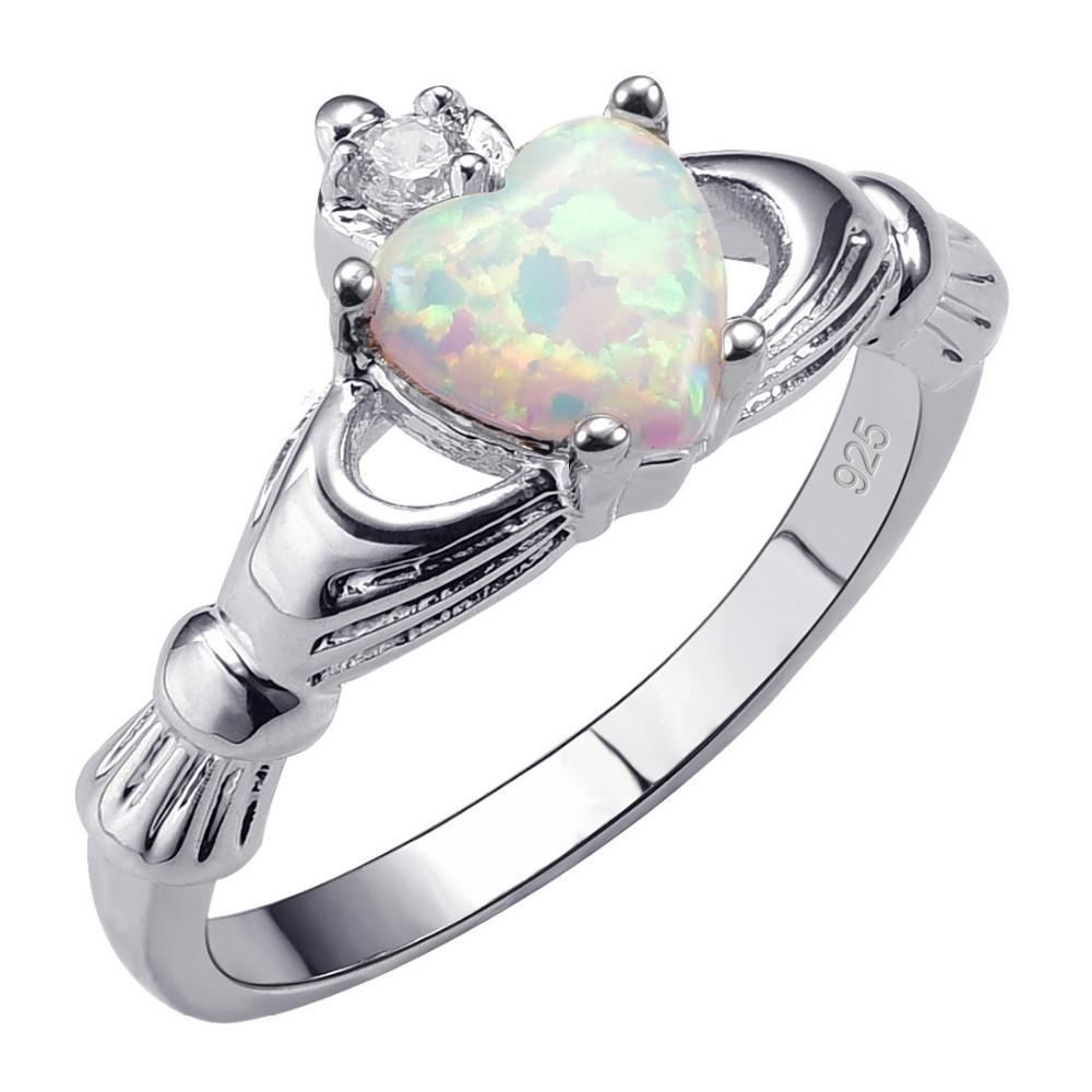 White Fire Opal 925 Sterling Silver Ring - AtPerrys Healing Crystals - 1