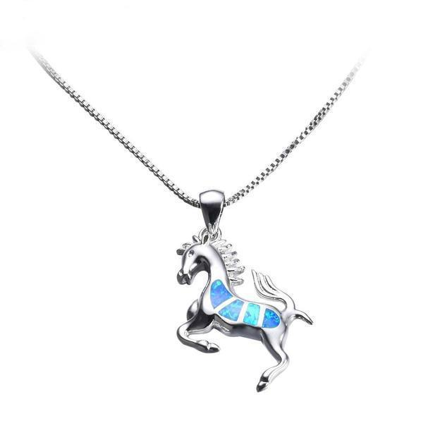 Blue Fire Opal Horse Necklace - 925 Sterling Silver