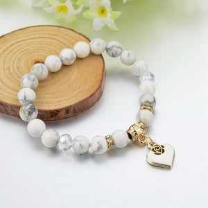 Howlite Beads Heart Charm Bracelets - atperry's healing crystals