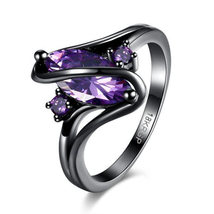 Purple Sapphire Black Gold Ring - AtPerry's Healing Crystals™