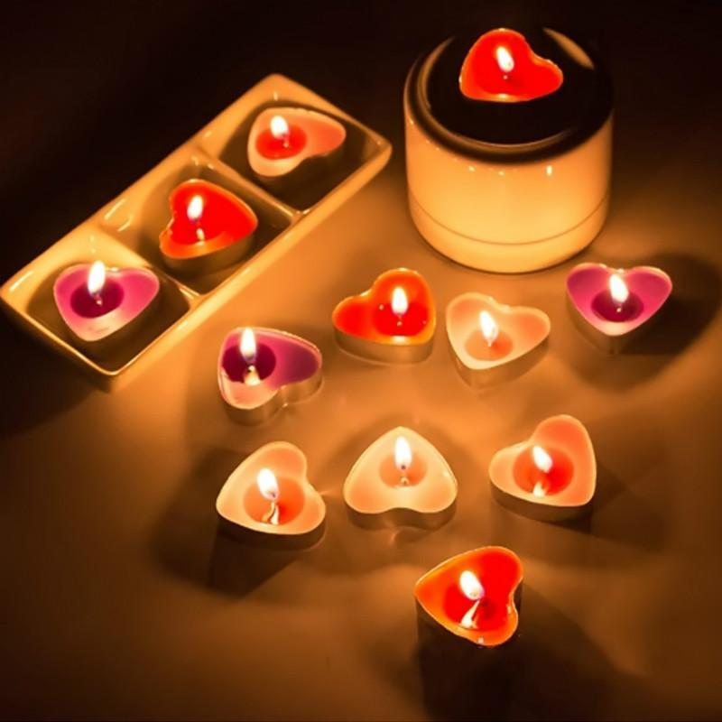 50pcs Heart Shaped Scented Candles