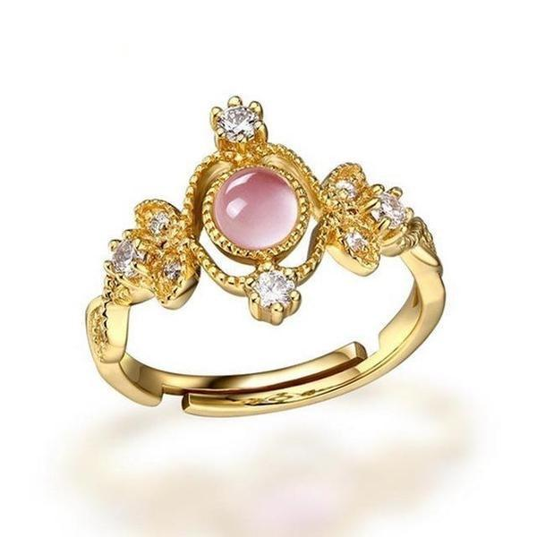 Moonstone & Rose Quartz Gold/Silver Ring - 925 Sterling SilverRingResizableRose Quartz/Gold