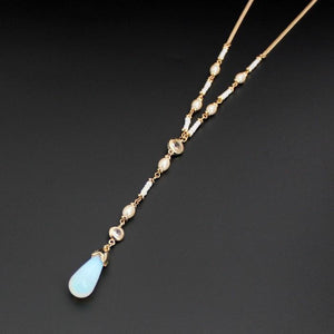 New Design Gold Color Moonstone Pearl Pendant Beaded NecklaceNecklace