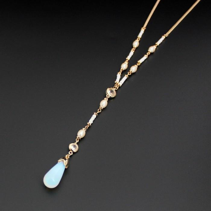 New Design Gold Color Moonstone Pearl Pendant Beaded Necklace - atperry's healing crystals