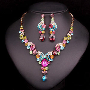 Multi Stone Necklace & Earrings SetJewelry Set
