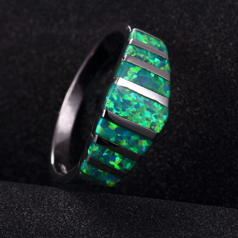 Luxurious Green Fire Opal Silver RingRing
