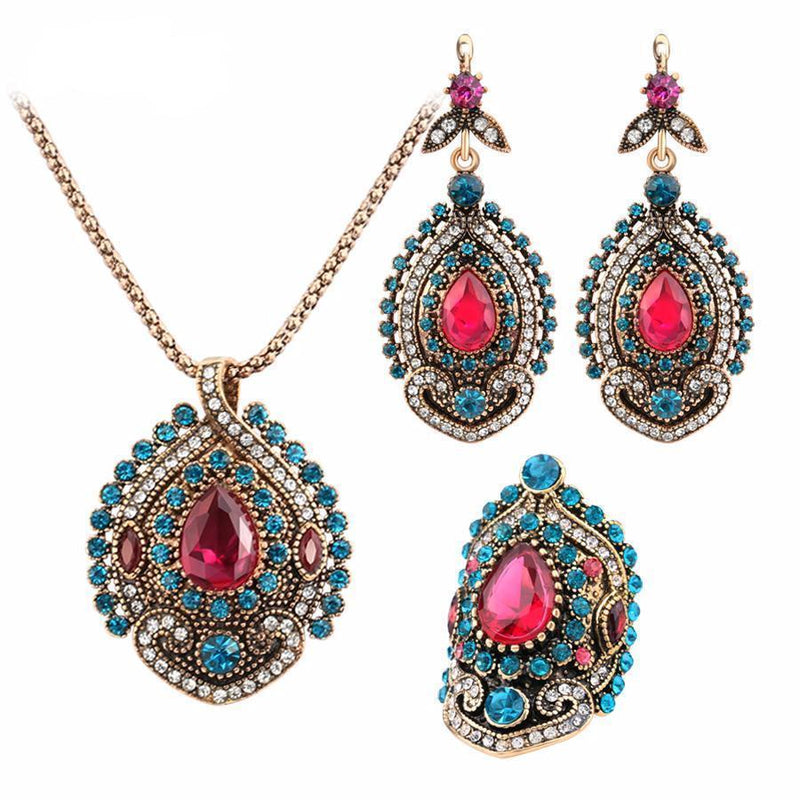 Antique Gold Plated Pink Tourmaline Crystal Turkish Jewelry Set (Necklace, Ring & Earrings) - AtPerry's Healing Crystals™