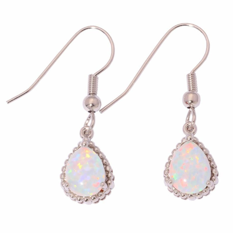 White Fire Opal Silver Drop Earrings - atperry's healing crystals