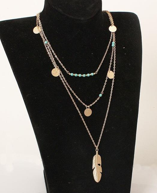 Gold/Silver Tassels Turquoise Feather Multi Layer Necklace - AtPerry's Healing Crystals™