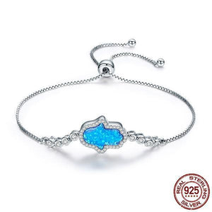 Blue Opal Hamsa Bracelet - 925 Sterling Silver - AtPerry's Healing Crystals™