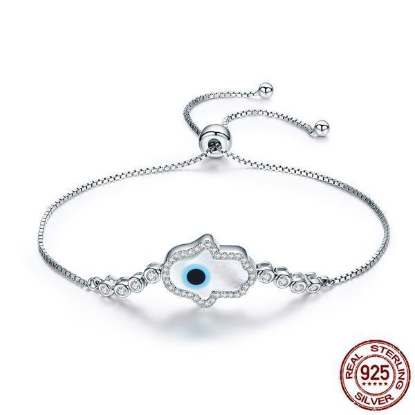White Opal Hamsa Bracelet - 925 Sterling Silver - atperry's healing crystals